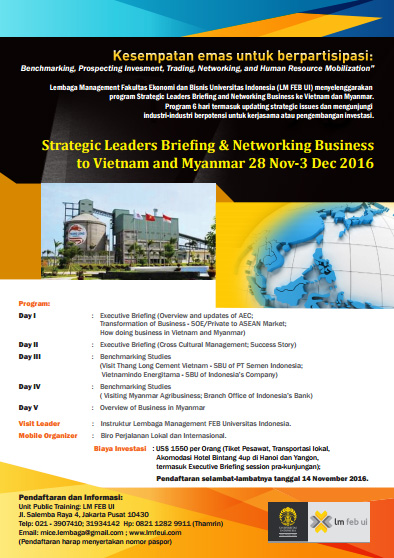 STRATEGIC LEADERS BRIEFING & NETWORKING BUSINESS TO VIETNAM AND MYANMAR