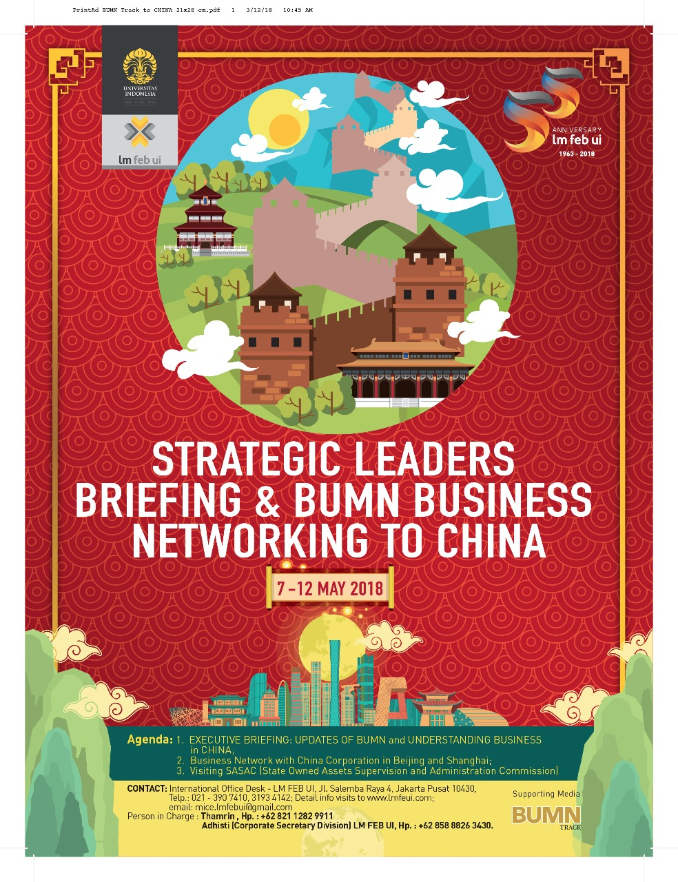 Strategic Leaders Briefing &  BUMN Business Networking to China